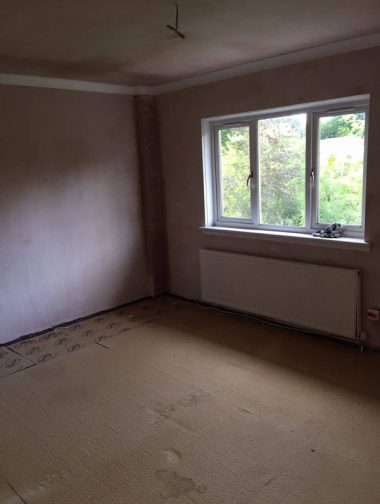 Bedroom after skimming and coving